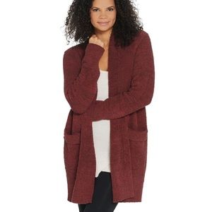 Barefoot Dreams Cozy Chic Cardigan Burgundy Open